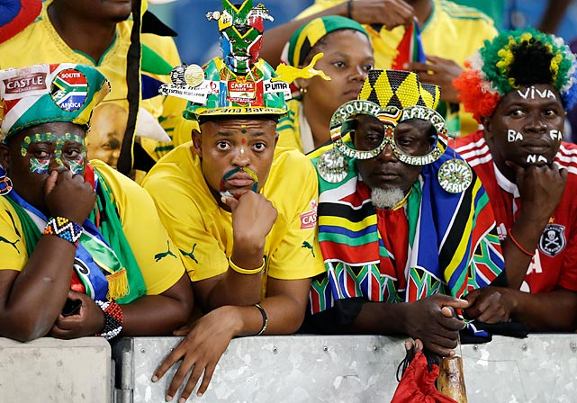From the looks of them, you'd think their team had just been knocked out of the African Cup of Nations tournament by losing to Mali on penalties in the quarterfinal at Moses Mabhida Stadium in Durban. And you would be right.