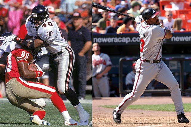 Unlike Bo Jackson and Deion Sanders, who played both baseball and football simultaneously, Brian Jordan began his career in the NFL while working his way through the St. Louis Cardinals' minor league program before switching to the MLB exclusively. Jordan made his NFL debut with the Atlanta Falcons in 1989, and had his most successful season in 1991, when he led the Falcons in tackles and was named an alternate to the Pro Bowl. After Jordan reached the majors at the start of the 2002 season, the Cardinals gave him a new contract to give up football. In his 15-year baseball career, Jordan hit above .300 twice and made the 1999 All-Star Game.