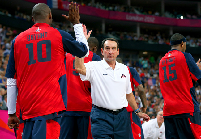 Mike Krzyzewski led Team USA to gold medals at the 2008 and 2012 Olympics.