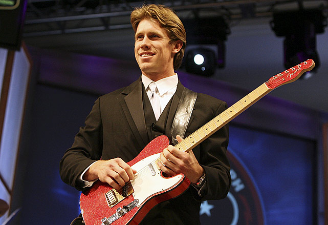 "The NASCAR driver plays guitar with ""Robert Randolph and The Family Band"" during the NASCAR Busch Series banquet at the Grand Floridian at Walt Disney World on Dec. 8, 2006, in Lake Buena Vista, FL."