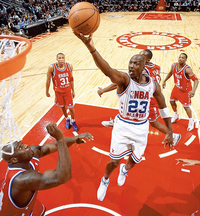 In the final All-Star Game of his legendary career, Michael Jordan seemed destined for an MVP award. Jordan, who started the game when Vince Carter gave up his starting spot, hit a baseline jumper with 4.8 second remaining in overtime to put the East up 138-136. Jermaine O'Neal ruined the fitting ending however, fouling Kobe Bryant on a three-pointer with one second left. When Bryant hit two of his three free throws, the game went to a second overtime for the first time in All-Star history. Kevin Garnett hit three jumpers in the post in the second bonus period and claimed the MVP honors as the West won 155-145.