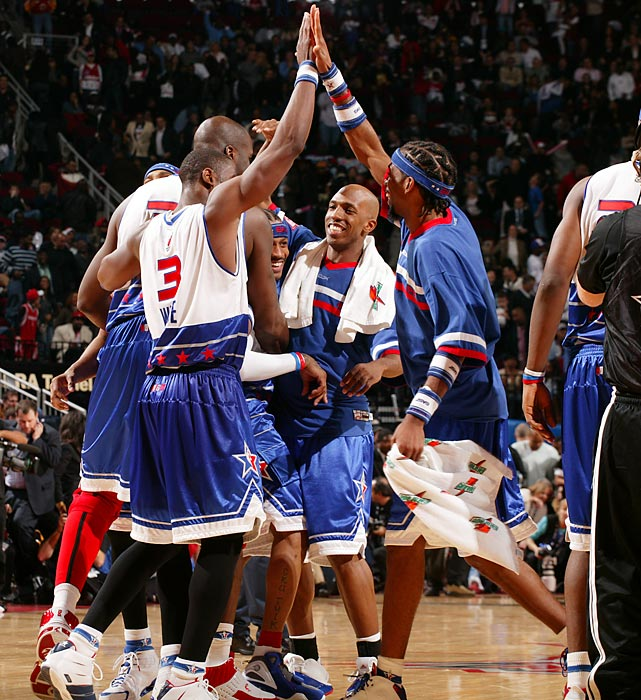 Eastern Conference and Pistons head coach Flip Saunders rode his four Detroit players to victory as the East shut down the West in the second half, limiting the squad to just 50 points after halftime in the 122-120 East victory. LeBron James became the youngest All-Star Game MVP when the 21-year-old scored 29 points and grabbed six rebounds.