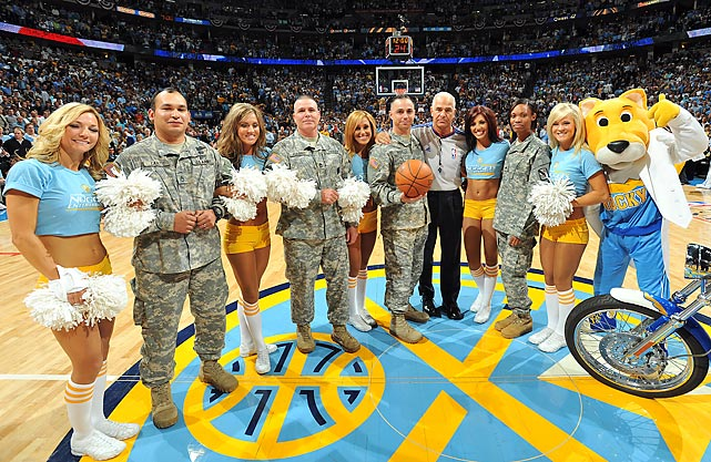 Soldiers are honored for Memorial Day before the start of a Denver Nuggets and Los Angeles Lakers playoff game in 2009.