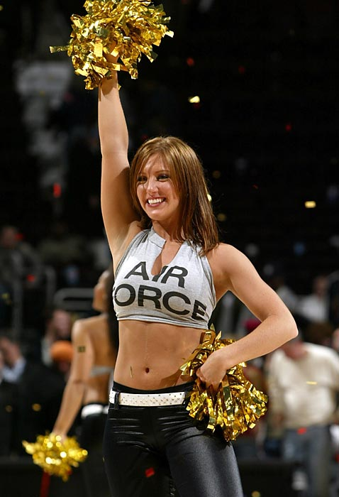 A Cavaliers Girl supports the Air Force during a 2006 game against the Trail Blazers.