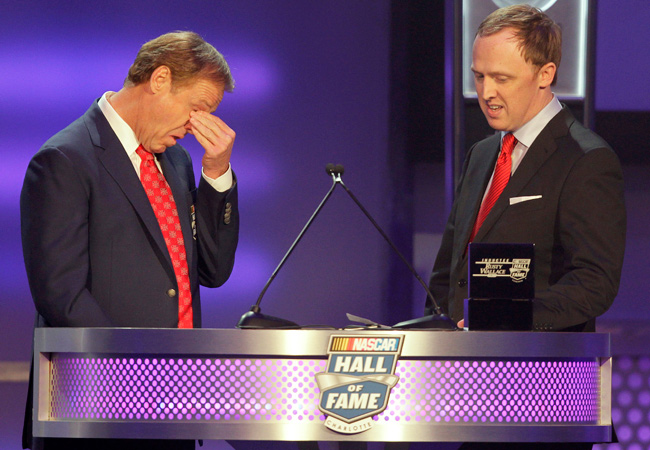 Rusty Wallace stoically won 55 races but became emotional when his son Greg presented him for induction.