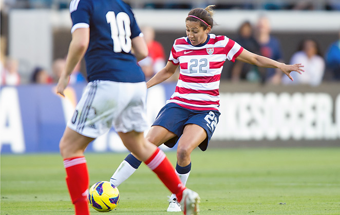 Christen Press scored twice as the U.S. women's national team gave Tom Sermanni a win in his debut.