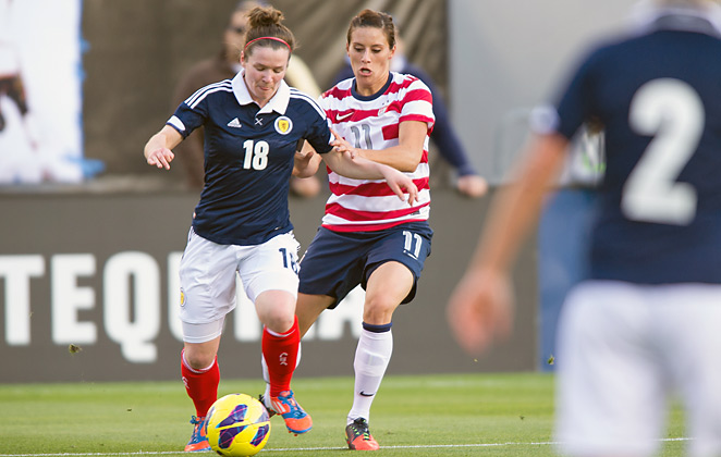 Ali Krieger (No. 11) made her first appearance for the U.S. national team since January, 2012.