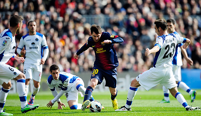 Lionel Messi was one of six different players to score in Barcelona's dominating 6-1 home win.