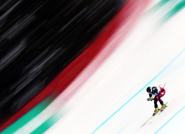 Isabel Van Buynder flies in the women's downhill at the FIS Alpine Ski World Championships in Schladming, Austria on Feb. 10.The Belgian struggled in the competition, finishing in 1:57.31, the second slowest time of the 36 competitors. Marion Rolland of France took the gold with a time of 1:50.00.