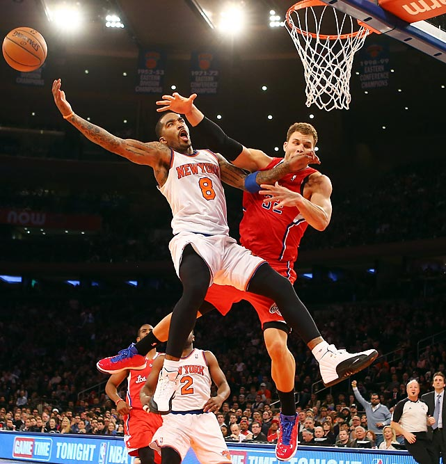 Knicks shooting guard J.R. Smith attempts to go to the basket against Clippers power forward Blake Griffin in a Feb. 10 matchup between New York and Los Angeles at Madison Square Garden. The 42 points from Carmelo Anthony were not enough as the Clippers prevailed 102-88.