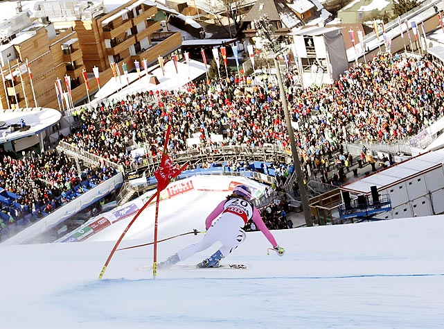 Maria Hoefl-Riesch speeds down the course in the downhill portion of the women's super combined at the FIS Alpine Ski World Championships in Schladming, Austria on Feb. 8. The German took gold with a combined time of 2:39.92, .46 seconds faster than runner-up Tina Maze. The victory adds to Hoefl-Riesch's five career world championship medals.