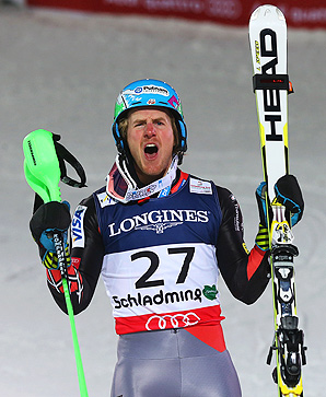 Ted Ligety secured gold, his second at this world championships, in the super-combined event after a strong slalom leg.