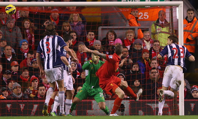 Gareth McAuley of West Bromwich Albion scores the opening goal during the Baggies' 2-0 win.
