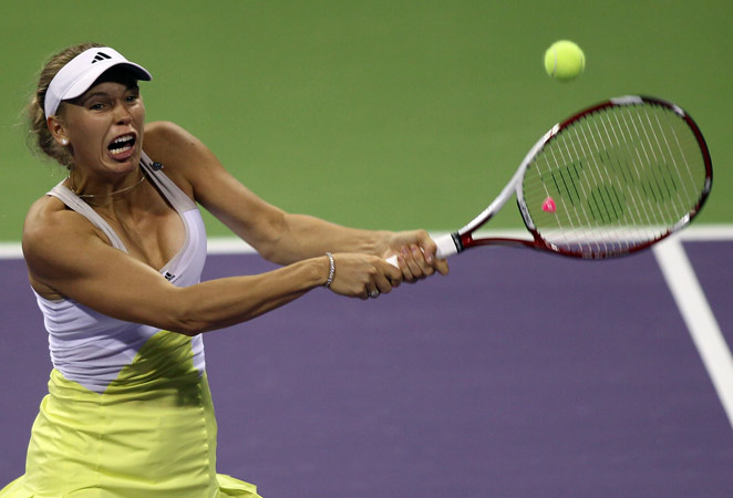 Tenth-ranked Caroline Wozniacki beat qualifier Mervana Jugic-Salkic 6-1, 6-2 on Monday.