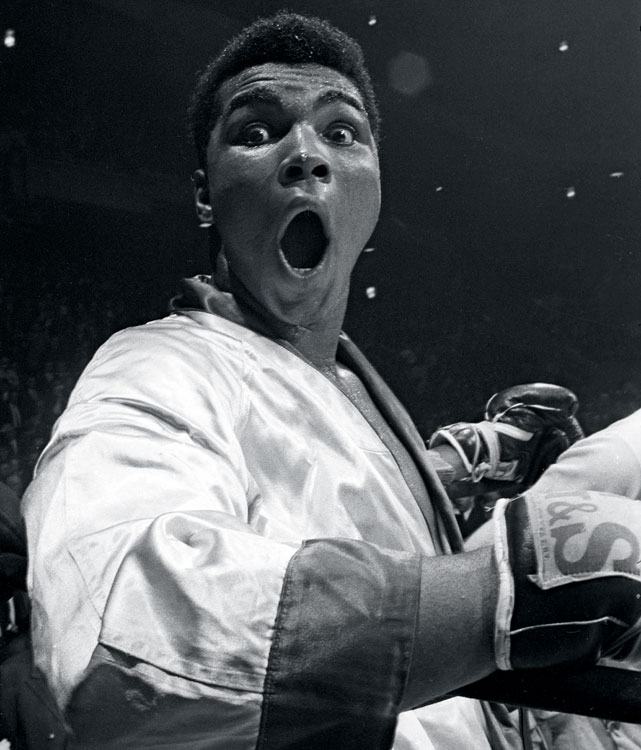 Undefeated in his first 17 pro fights, Ali (then still Cassius Clay) mugged for Leifer's camera before the start of his 1963 bout against Doug Jones in Madison Square Garden. Click here for Neil Leifer's fine art photography.