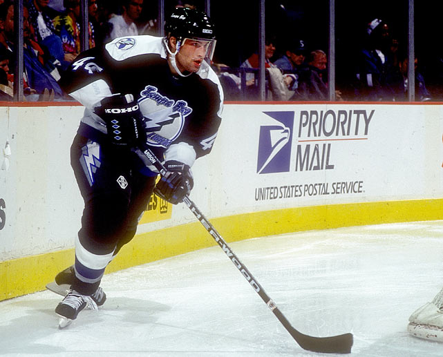 The Lightning chose the big, versatile Czech ahead of center Alexei Yashin (Ottawa) and such other notable blueliners as Darius Kasparaitis (5th, Islanders) and Sergei Gonchar (14th, Capitals). Hamrlik developed into a minute-munching shutdown defender and penalty-killer who could also play the point on the power play. After five-and-a-half seasons with Tampa Bay, he embarked on a steady, productive journeyman's career that has taken him to the Oilers, Islanders, Flames, Canadiens and Capitals. The three-time All-Star had, as of the 2013 season, played in more than 1,300 NHL games and topped the 600-point mark.