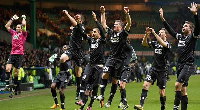 Juventus greets its supporters after its dominating 3-0 outing over Celtic in Glasgow.