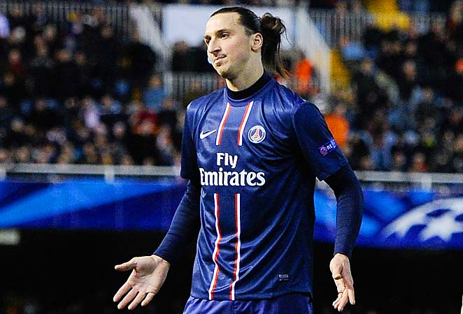 Zlatan Ibrahimovic reacts after being shown a red card in PSG's win over Valencia.
