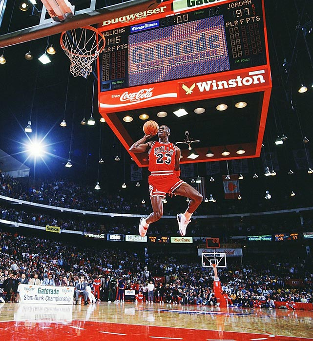 Jordan leaps from the free-throw line for a perfect-score dunk in the 1988 NBA Slam Dunk Contest. A prolific dunker throughout his career due to his tremendous leaping ability, Jordan won back-to-back dunk contests in 1987 and '88. As MJ continues to dunk at age 50, we present SI's 100 best photos of Michael Jordan.
