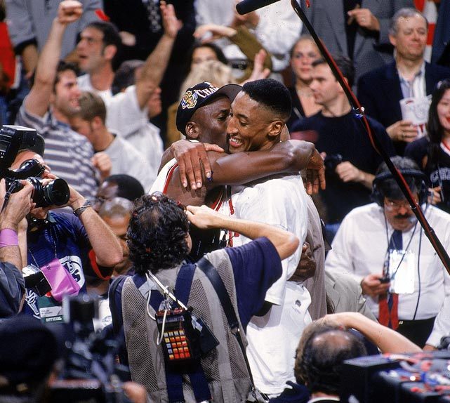 Jordan hugs Scottie Pippen after the duo won their fifth NBA title together in 1997. Jordan earned his fifth Finals MVP Award in as many appearances.
