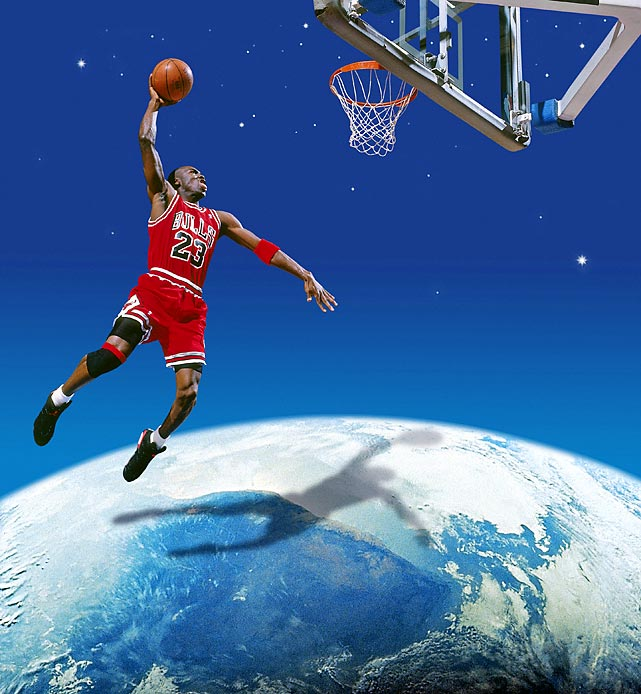 Michael Jordan soars for a dunk against a backdrop.