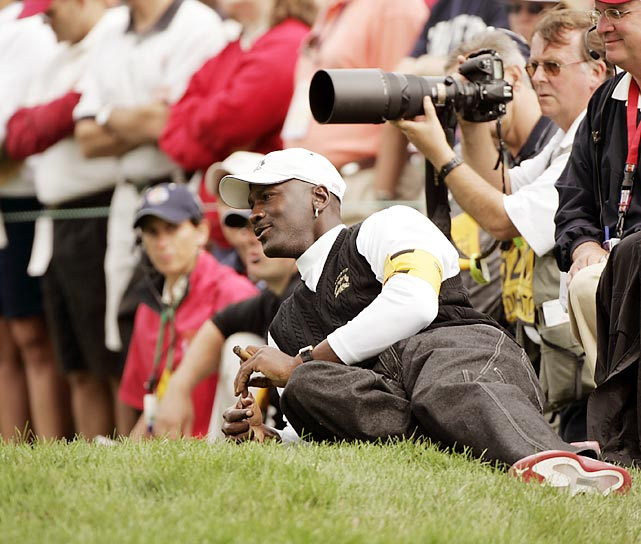 Jordan catches some action at the 35th Ryder Cup in September 2004 at the Oakland Hills Country Club in Bloomfield Township, Mich. An avid golfer and fan of the game, Jordan has attended every Ryder Cup since 1995.