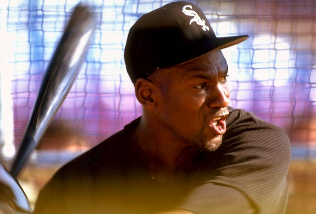 Jordan takes batting practice at spring training in Orlando, Fla., in February 1994. After retiring from basketball, Jordan signed a minor league deal with the White Sox to pursue his recently murdered father's dream to have a baseball player for a son.