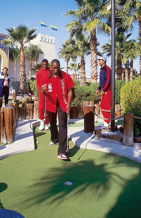 Rookie sensation Jordan opts for some slightly smaller links in a round of miniature golf with the Bulls in Phoenix in 1984.