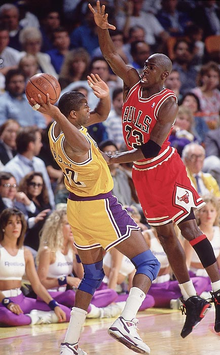 Jordan pressures Magic Johnson in Game 3 of the 1991 NBA Finals. Jordan's defense was a source of great frustration for the Lakers as he tallied 14 steals and seven blocks in the five-game series.