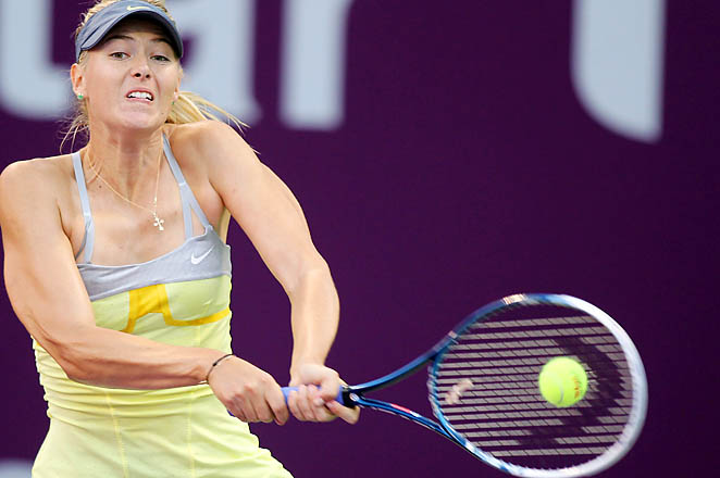 Maria Sharapova will face Serena Wiliams in the semifinals in Doha.