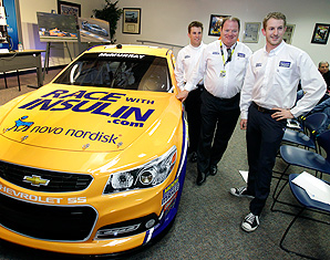 Jamie McMurray (left) will drive the Novo Nordisk car at the Daytona 500.