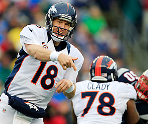 Peyton Manning threw for 4,659 yards and 37 touchdowns in 2012 with the help of Ryan Clady's protection on the offensive line.