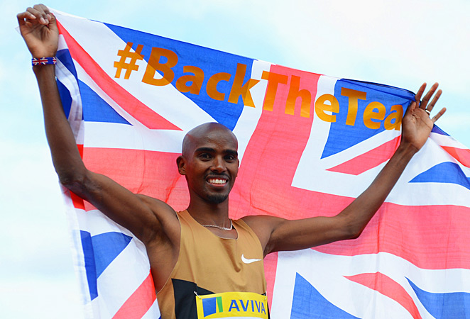 Mo Farah won gold in the 5,000 and 10,000 meters for Britain at the London Games last year.