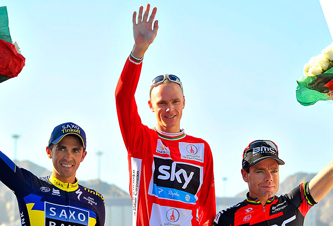 Christopher Froome (center) held off Alberto Contador and Cadel Evans to claim his first stage-race win.