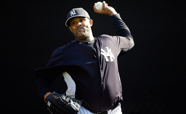 CC Sabathia threw 29 pitches during Saturday's session, which was watched by several team officials.