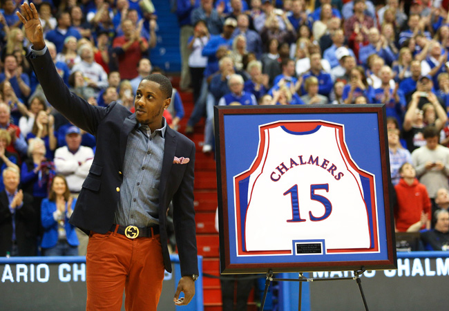 Mario Chalmers became the 28th former Kansas basketball player to have his number retired.