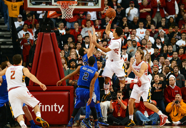 Maryland's Seth Allen made the game-winning free throws after being fouled on this shot with 2.8 seconds left.