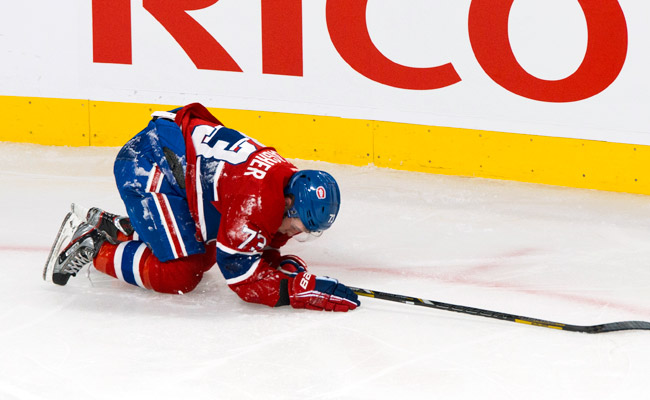 Rookie Brendan Gallagher suffered a concussion during a game against the Flyers on Feb. 16.