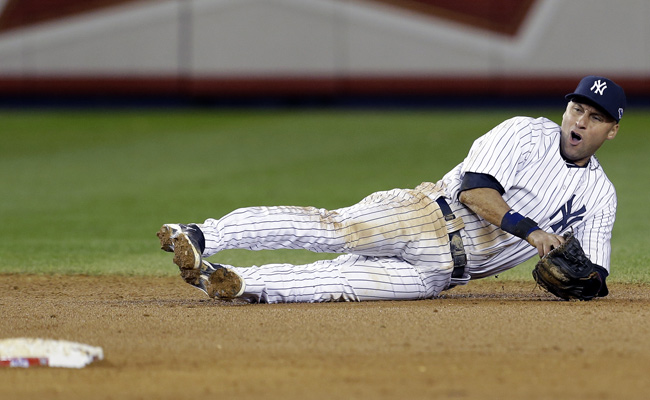 Derek Jeter broke his left ankle lunging for a grounder in last season's ALCS opener against the Tigers.