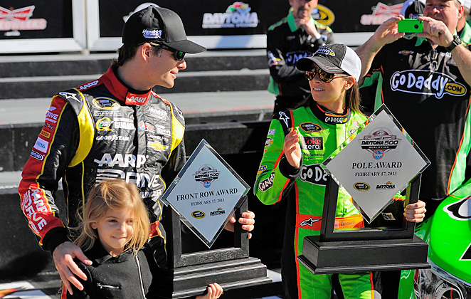 Jeff Gordon joins Danica Patrick on the front row for next week's Daytona 500.