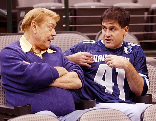 Buss chats with Dallas Mavericks owner Mark Cuban after a Lakers-Mavericks game in November 2002. Although Buss' children assumed leadership positions in his later years, he remained involved with the franchise, taking an active role in the 2011 NBA lockout negotiations.