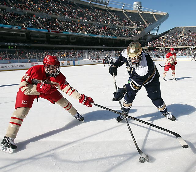 Notre Dame takes on Miami (Ohio) at Soldier Field in Chicago for the Hockey City Classic on Feb. 17. The Hockey City Classic, which also included a matchup between Wisconsin and Minnesota, marked the first hockey games at Soldier Field in the stadium's 89-year history.