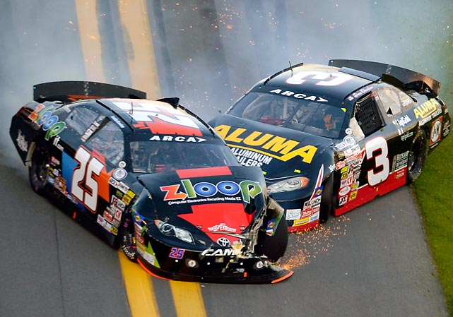 Justin Boston and Drew Charlson collide during the ARCA Series race at Daytona International Speedway on Feb. 16. The 55th annual Daytona 500 runs Feb. 24.