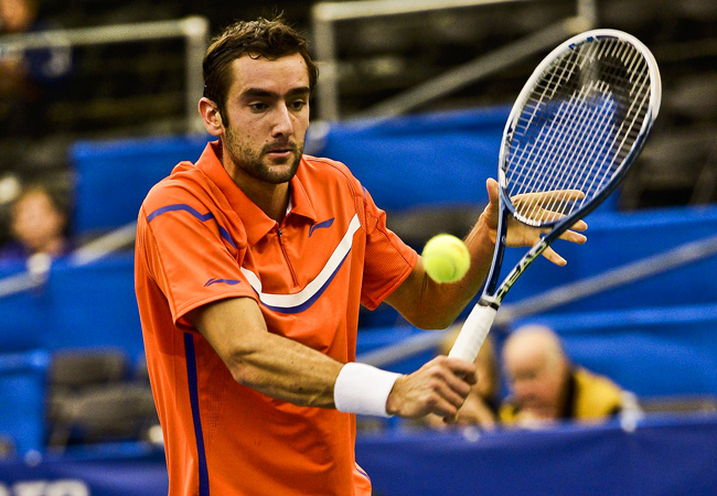 Top-seeded Marin Cilic advanced to the quarterfinals at the U.S. Indoor Championships.
