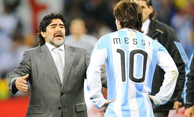 Diego Maradona coached Lionel Messi and Argentina at the 2010 World Cup.