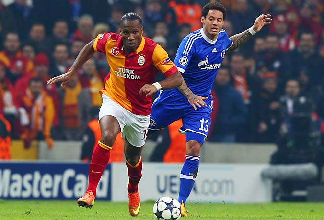 Didier Drogba (left) made his 2012-13 Champions League debut after coming over from China in January.