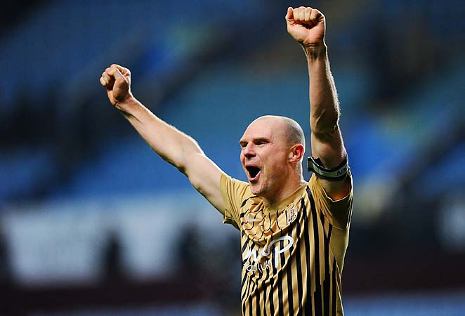 Gary Jones celebrates Bradford's semifinal victory over Aston Villa.