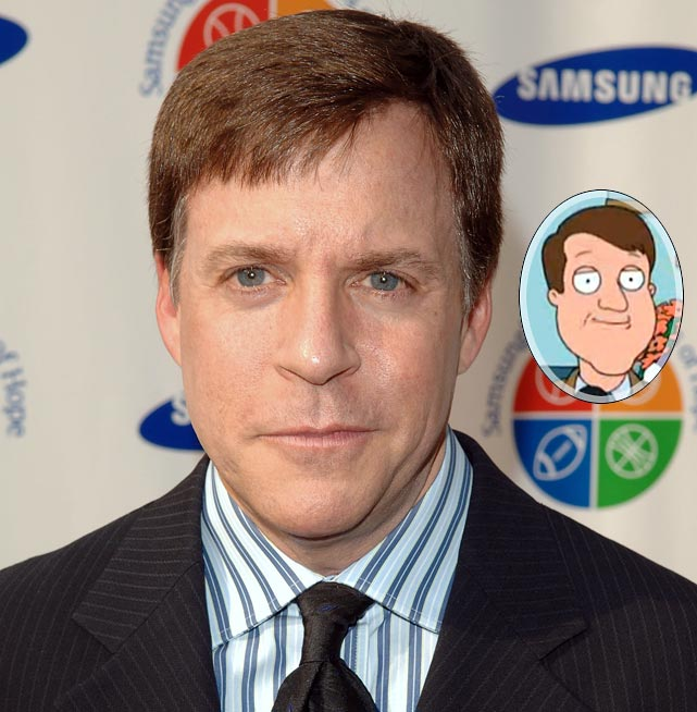"Memorable Moment: After Tom Brady recruits Peter to join the Patriots as the team's new center, Quahog 5 News anchorman Tom Tucker makes the announcement. Tucker: ""For our top story tonight, we go live to terrific haircut Bob Costas as he talks with local man Peter Griffin, who is living his dream of playing for the New England Patriots. Bob."" Costas: ""Thanks Tom, I'm fond of your hair as well. I'm standing here with Tom Brady and his newest teammate, Peter Griffin."" Costas also voices himself in two other episodes. Episode: Petergeist (May 7, 2006) and Episode: Turban Cowboy (March 17, 2013)."