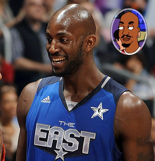 "Memorable Moment: Garnett stands around with Dwight Howard, Dwyane Wade, Steve Nash, Dirk Nowtizki, LeBron James and Shaquille O'Neal, following the NBA All-Star game and having been berated by Cleveland in the stands. Garnett: ""He insulted my mother. Before I was a 7-foot millionaire NBA star, I was just a scared 6-foot tall first-grader who could barely dunk. But that didn't matter to Mom. She believed in me."""