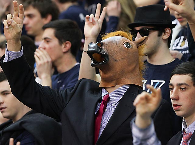 A Villanova fan shouts himself horse as his Wildcats smite the Scarlet Knights of Rutgers, 71-63, at The Pavillion in Villanova, PA.